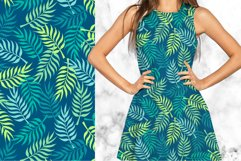 Palm tree leaves navy. Summer tropical seamless pattern. Product Image 2