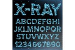 X-ray Font Vector. Transparent Roentgen Alphabet. Radiology Product Image 1