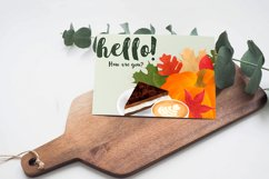 Autumn composition with pumpkin, leaves, coffee, cake Product Image 5