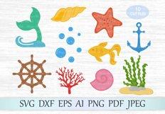 Under the sea svg file, Uderwater bundle svg, Handwheel svg, Bubbles svg, Sea clipart, Seaweed svg, Fish svg, Coral cut file, Starfish svg Product Image 1