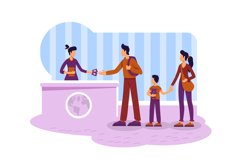 Tourist getting visa 2D vector web banner, poster Product Image 1