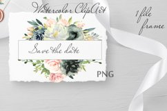 Blush and Navy Watercolor Clipart Product Image 2
