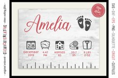 BABY BIRTH STATS - newborn elements - SVG file for crafters Product Image 1