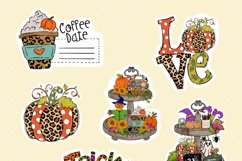Fall stickers bundle, PNG, pumpkin coffee stickers Product Image 2