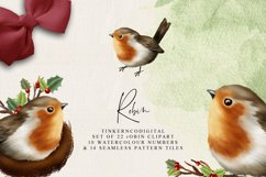 Christmas Robin Clipart and seamless patterned paper tiles Product Image 4