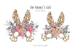 Watercolor leopard bunnys tail clipart. Easter wreath png Product Image 1