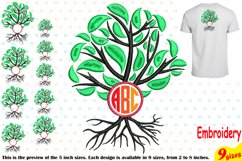 Family Tree Circle Embroidery Design Machine Instant Download Commercial Use digital Outline family love Frame Deep Roots Branches 206b Product Image 1