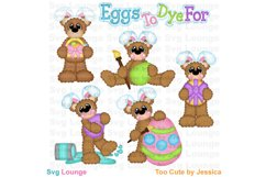 Easter Bunny Bears and Eggs SVG Cut File Product Image 1