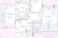 Card templates and floral illustrations in silver Product Image 5