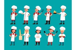 Chef kids. Happy gourmet children cook delicious food on kit Product Image 1