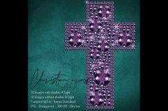 32 Diamond Pearl Rhinestone Christian cross religious Easter Product Image 6