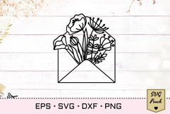 Flowers in envelope SVG Product Image 1