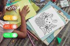 Sweet Bunny - Cut File and Coloring Page Product Image 2