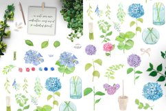 Watercolor Hydrangea Floral Clipart Product Image 7