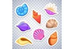 Sea shells stickers vector set Product Image 1