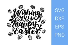 Wishing You a Happy Easter SVG file, Easter lettering Product Image 1