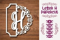 Letter H Papercut SVG Design Template Product Image 1