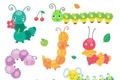 Cartoon caterpillar vector cute set Product Image 2