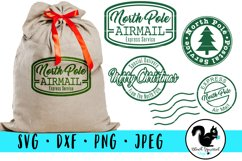 Christmas Stamps SVG, Santa Sack Clipart, North Pole Mail Product Image 1