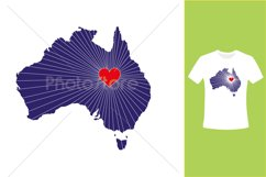 I Love Australia, Country Map Silhouette Product Image 2