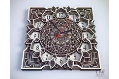 C04 - Mandala Flower Clock, Layered Clock DXF, Clock SVG Product Image 2