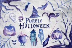 17 Watercolor Purple Halloween PNG Clipart Illustrations Product Image 1