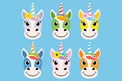 Cute Unicorn Clipart Bundle, Magical Horses, PNG, JPEG, EPS Product Image 4