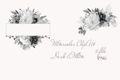 Watercolor White Dark Floral Clipart For Wedding Stationery Product Image 2