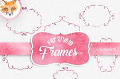 Watercolor Cliparts Frames and Ribbons Pink Green Digital Product Image 1