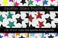 Stars Pattern Digital Papers - Multi-Color Star Backgrounds Product Image 1