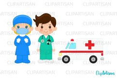 Doctor and Nurse Clipart, Hospital Clip Art, Ambulance Product Image 2