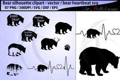 bear svg silhouette vector / mama bear svg / bear heartbeat Product Image 1