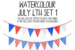Watercolor July 4th Clip Art Set Product Image 2