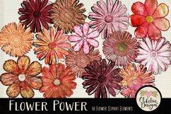 Flower Clipart Elements - Flower Digital Scrapbook Elements Product Image 6