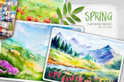 Spring Landscapes. Watercolor. Product Image 1