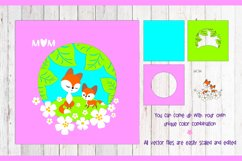 Mama fox with a baby fox. Shadow Box Template svg Product Image 2