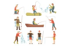 Summer fishing sport vacation vector flat icons. Fishermen w Product Image 1