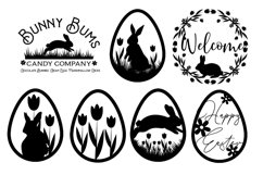 Spring Flower Easter Bunnies svg cut file Product Image 1