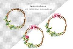 Christmas wreath, watercolor illustration, eucalyptus, roses Product Image 2