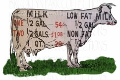 Dairy Sign, Farmhouse, Cow, Clip Art, Print, Sublimation PNG Product Image 1