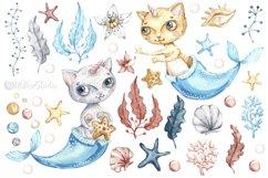 Watercolor Cat Mermaid clipart. Seashells marine clip art. Product Image 3