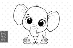 Cute elephant clipart, SVG, PNG, EPS, 300 DPI Product Image 1