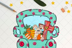 Easter truck with bunny cross and carrots t, sublimation png Product Image 2