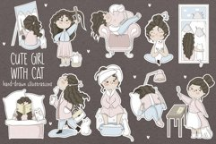 Cute girl with cat. Stickers. Part 1 Product Image 1