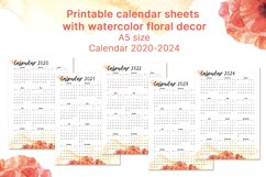 Printable calendar 2020 2021 2022 2023 2024 for A5 planner Product Image 1