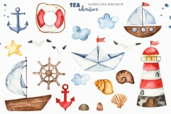 Watercolor Sea adventure. Clipart, seamless patterns, cards Product Image 6