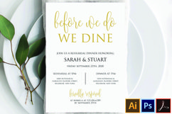 Gold Before we do we dine invitation, Printable rehearsal Product Image 1