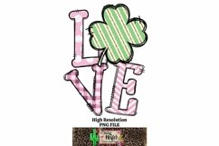LOVE Pink St Patrick's Day Dye Sublimation PNG Design Product Image 1