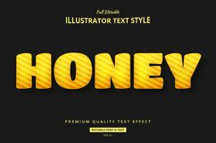 Honey Yellow Strip 3D Illustrator Text Style Effect Product Image 1