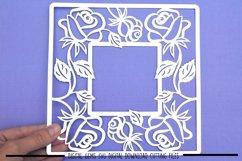 Rose frame paper cut SVG  DXF  EPS files Product Image 2